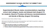 Superintendent Woods makes recommendations regarding school start category, masks and delayed start (August 31)  for students