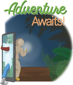 Adventure Awaits - Man stepping through phone