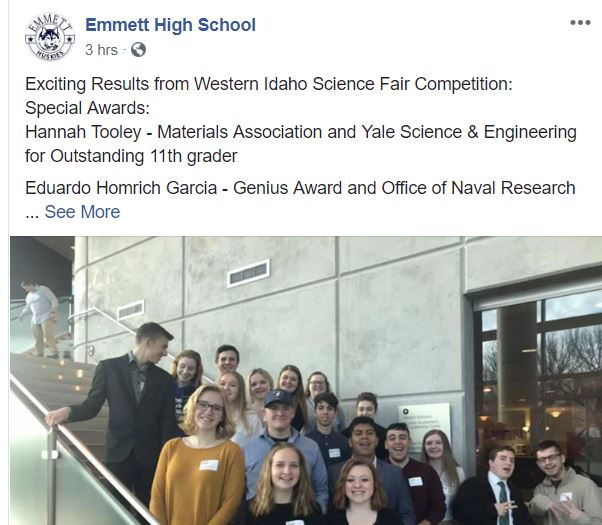 EHS at Idaho Science Fair Competition