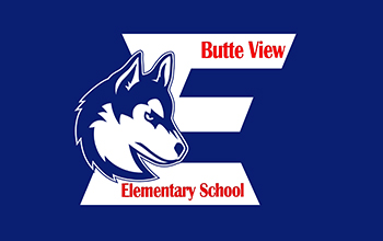 Huskie E that says Butte View Elementary