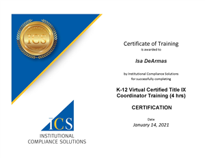 Dr. DeArmas' certificate of training